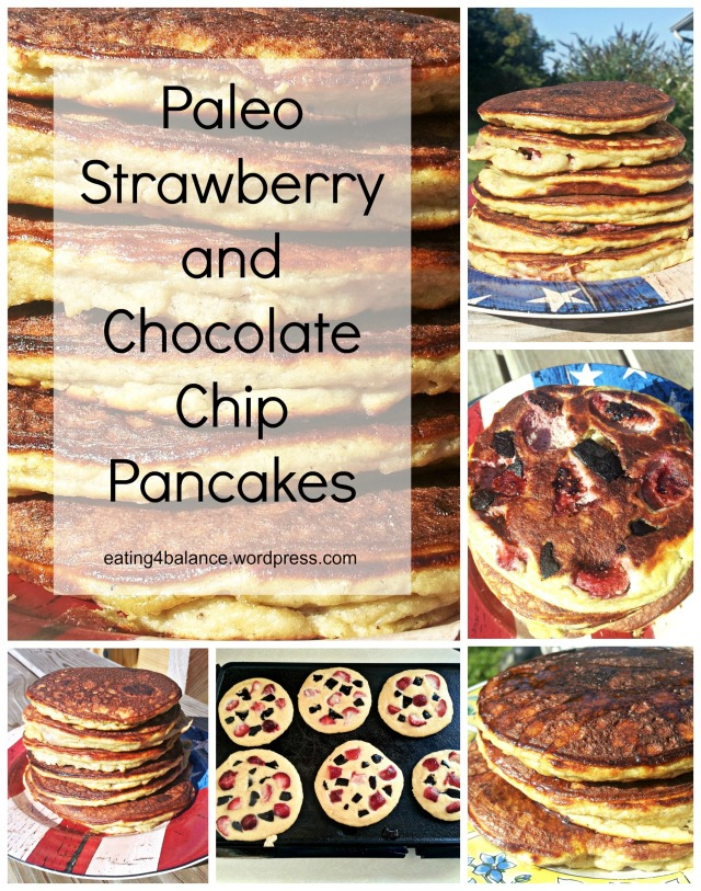 Paleo Strawberry and Chocolate Chip Pancakes