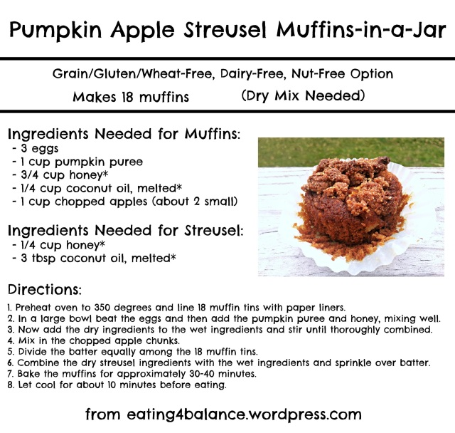 Pumpkin Apple Streusel Muffins-in-a-Jar Instructions (Dry Mix Ingredients on Blog)